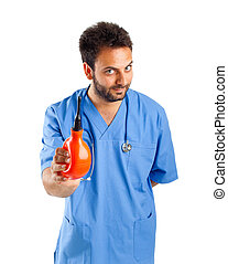 Male nurse with clyster - Male nurse portrait with clyster...