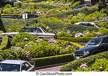 View of Lombard Street, the crookedest street in the world,...