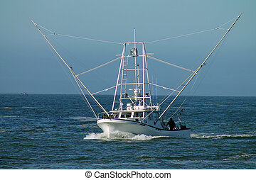 white fishing boat - a large white fishing boat comes into...