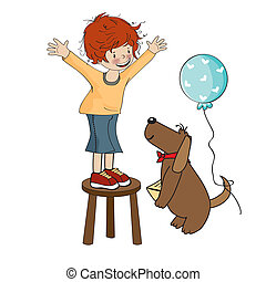 Funny boy celebrates his birthday with dog, vector...