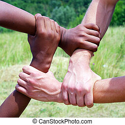 linked hands - Linked hands on a green background...