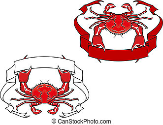 Red crab with ribbon in claws for mascot or emblem design