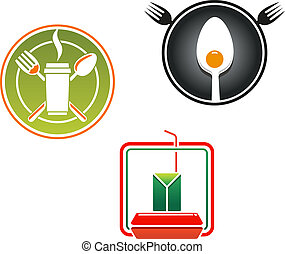 Fast food emblems and symbols