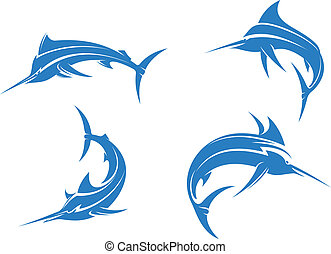 Big blue marlins with sharp nose isolated on white...