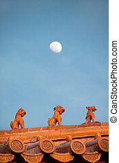 Roof figurines at the Forbidden City, Beijing - BEIJING,...