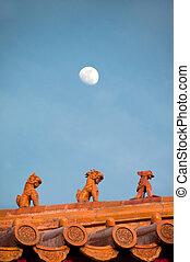 Roof figurines at the Forbidden City, Beijing - BEIJING,...
