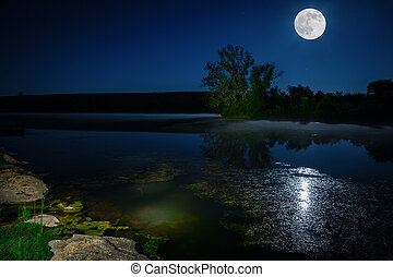 Moon over lake - Scenic nighttime landscape with full moon...