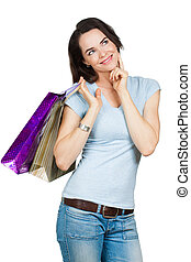 Beautiful woman shopping.