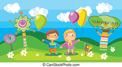 Boy and a girl with a balloons
