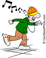 Cartoon Youth with Mobile Phone - A cartoon youth dancing to...