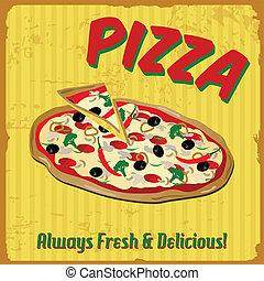 Pizza vintage poster - Pizza vintage grunge poster, vector...