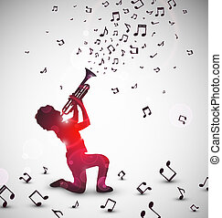 Abstract trumpeter - Abstract background with trumpeter. Eps...