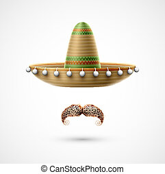 Sombrero and mustache (Mexican accessories). Eps 10