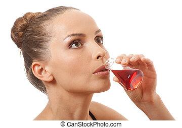 mujer, bebida, rojo, líquido