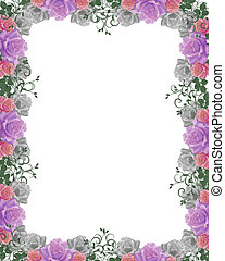 Roses Wedding invitation Border fra