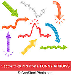 Colorful textured arrows set Vector illustration for your...