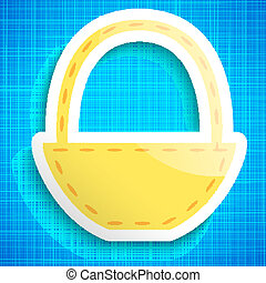 Empty picnic basket icon on blue cloth background. Vector...