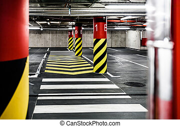 Parking garage underground interior