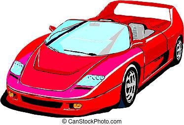 red sportscar on white