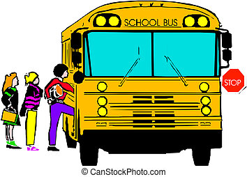 school bus with  of kids