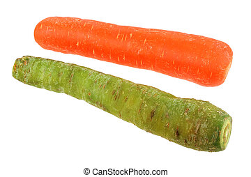 Yellow Carrot and Jaune Du Doubs - Closeup photo of Yellow...
