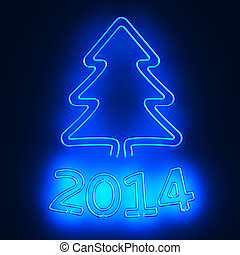 Neon New Year - Illuminated pictogram of christmas tree and...