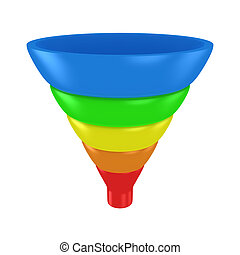 Purchase funnel - Sales funnel isolated on the white...