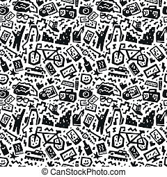 hipsters things - seamless vector background - hipsters...