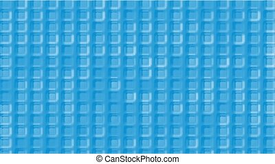 blue plastic square grid & block brick matrix wall.