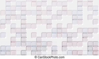 color transparent plastic square mosaics & block brick matrix wall.