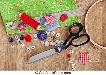 sastrería, herramientas, en, de madera, tabla