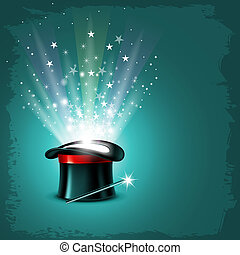 Magic Hat - Vintage background with magician hat, wand and...