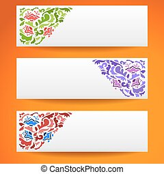 Abstract flower ornamental horizontal banners