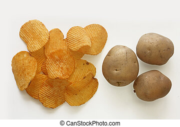 Ridged Potato Chips with Potatoes