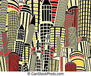 Cartoon city - Editable vector illustration of tall city...