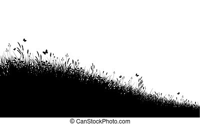 Meadow grass - Editable vector silhouette of a grassy meadow...