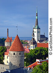 Old Tallinn - Tallinn, Estonia. A view of Tallinn old town.