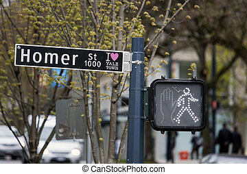 Vancouver street sign - View of a street sign in downtown of...