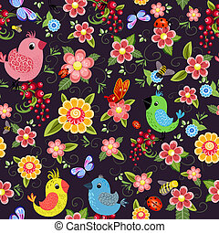 Cheerful seamless texture with birds