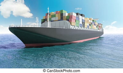 Cargo container ship in a sea