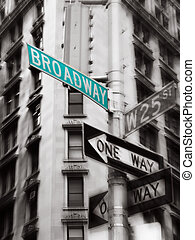 broadway sign - green broadway street sign, black and white...