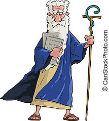 Cartoon Moses - Moses with his staff and tablets vector...