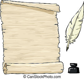 Old parchment - Parchment and quill with inkpot vector...