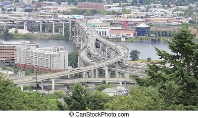 Traffic Timelapse of Marquam Bridge Over Willamette River in...