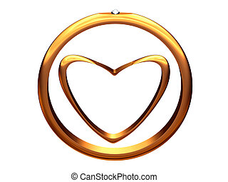 Image of gold heart inside of a gold wedding ring.
