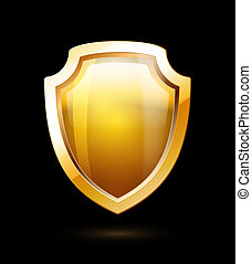 Gold Shield - Empty Gold Shield isolated on black background