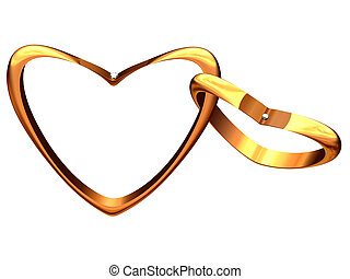 Two gold hearts linked among themselves.