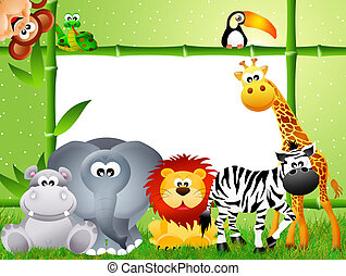 Safari animal cartoon - Safari animal and frame bamboo