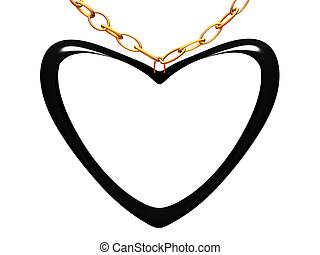 Medallion on a chain in the form of black heart.