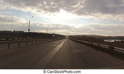 View from window of car traveling on highway